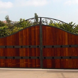 beautiful wooden and wrought iron gate